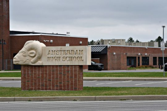 The exterior of Amsterdam High School in April.
