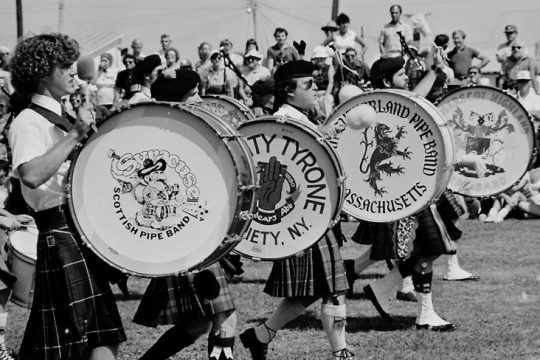 Drummers keep the beat during the 1983 Scottish Games at the Altamont Fairgrounds.