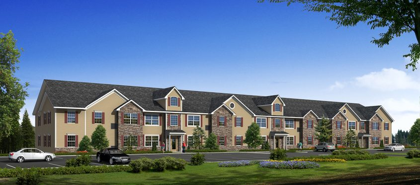 An architectural rendering shows one of the four 22-unit apartment buildings that will make up Reserve At Towpath Trail. Construction is starting on the projectoff North End Drive in the northernmost part of Schenectady.