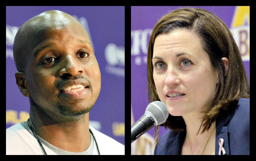 UAlbany men's basketball coach Dwayne Killings, left, and UAlbany women's basketball coach Colleen Mullen.