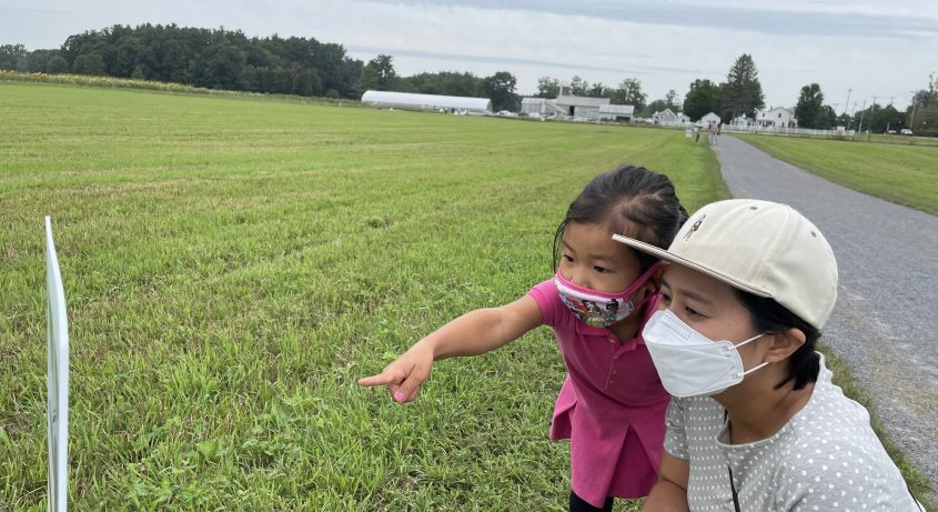 Zoe Hwang, 4,and her mom, Kim Miseong, look at astoryboard at the Pitney Meadow Community Farm storywalk in Saratoga Springs on Wednesday.