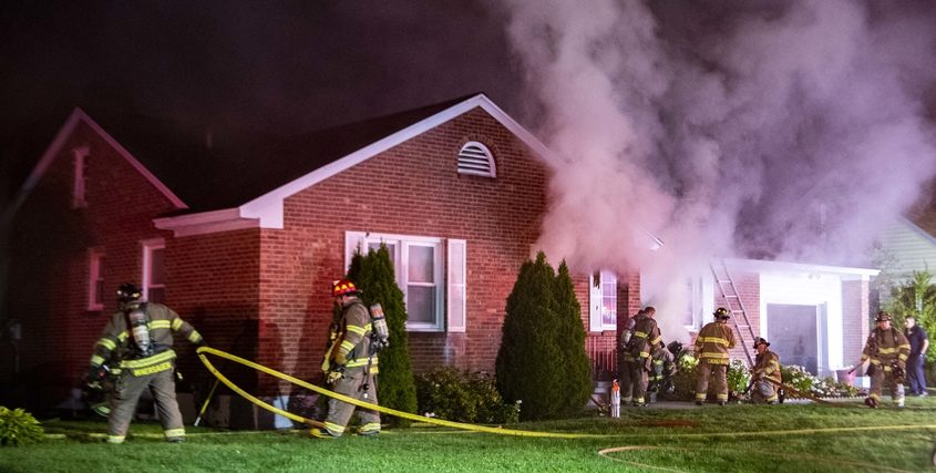 Schenectady firefighters battle the fire