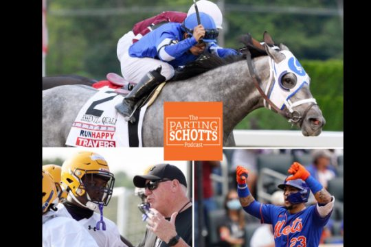 Top: Essential Quality wins the Travers; bottom left, UAlbany football head coach Greg Gattuso talks to his players; bottom right, the Mets' Javier Baez gives the thumbs down to the team's fans on Sunday. (Photos by Erica Miller/The Daily Gazette andCorey Sipkin/The Associated Press)