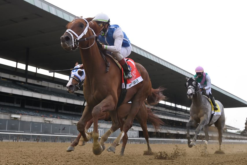 Happy Saver wins the Jockey Club Gold Cup at Belmont Park on Oct. 10, 2020.