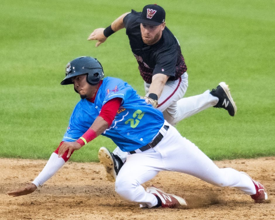 The Tri-City ValleyCats' Nelson Molina is tagged out at first base by Washington's Andrew Sohn during a July 13 Frontier League game at Joseph L. Bruno Stadium.