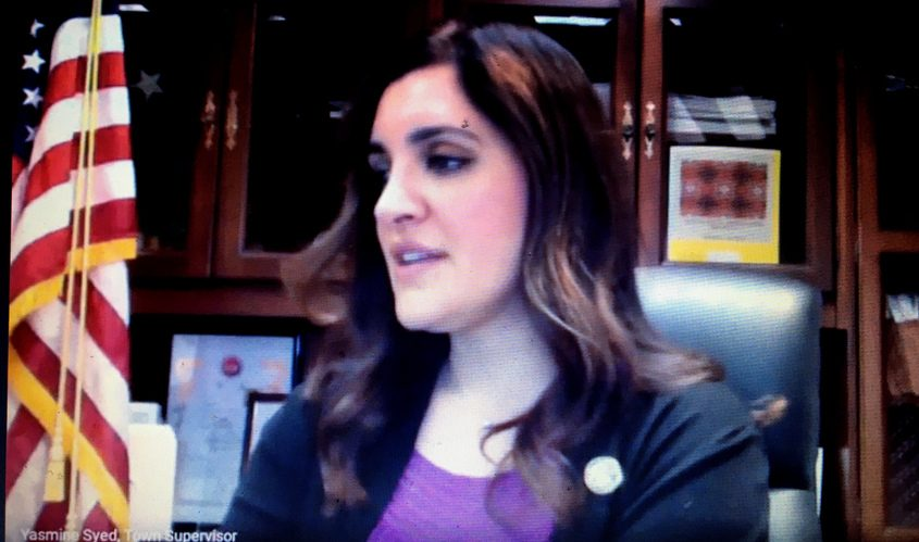 Niskayuna Town Supervisor Yasmine Syed readsa letter written to town officials during a virtual Town Board meeting in the spring of 2020.