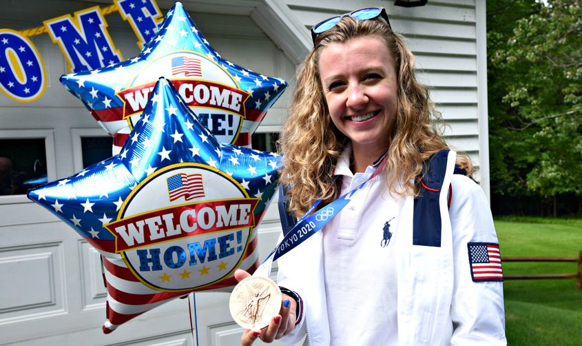 Duanesburg High School and Union College graduate Emma White will be at Saratoga Race Course Friday withher bronze medal, won in women's track cycling team pursuit at the Tokyo Olympic Games.