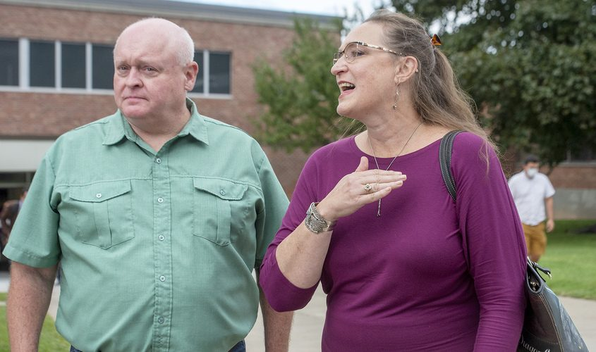 Mary and Kyle Ashton, mother of Michael Ukaj, speaks to media while leaving the courthouse after Nauman Hussain plead guilty to 20 counts of criminally negligent homicide in the 2018 Schoharie limo disaster, but avoid prison under an agreement, at Schoharie High School in Schoharie on Thursday.