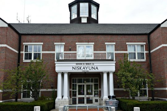 Exterior of the Niskayuna Town Hall building at Niskayuna Circle.