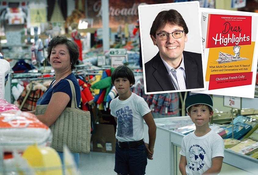 """Kent Johnson, center, is pictured as a youngster along with his brother, Eric, on a shopping trip withtheir mother, Karen Johnson. Inset photos: Kent today as CEO of Highlights for Children, and the company's recent publication, """"Dear Highlights: What Adults Can Learn from 75 Years of Letters and Conversations with Kids."""" (photos courtesy Kent Johnson and Highlights for Children)."""