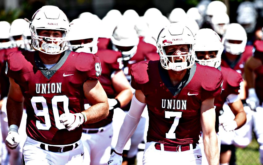 The Union football team takes the field for its home opener versus SUNY Morrisville at Frank Bailey Field in Schenectady on Saturday.