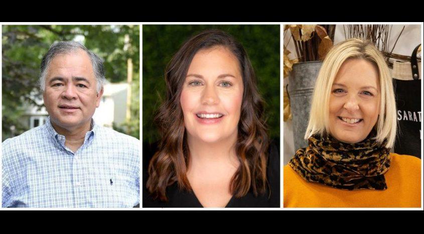 Saratoga Springs mayoral candidates Ron Kim, left, Robin Dalton, center, and Heidi Owen West, right