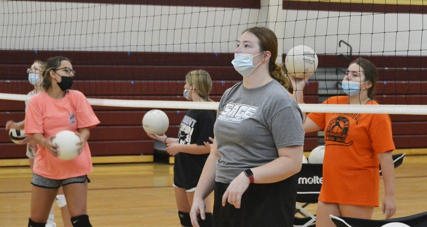 First-year Fonda-Fultonville volleyball coach Miranda Nethaway with her team during practice last Thursday at Fonda-Fultonville High School. (Paul Wager/The Daily Gazette)