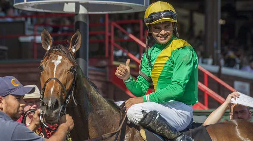 Jockey Luis Saez won Monday's sixth race on Ocean Air to clinch his first-ever riding title at Saratoga Race Course.