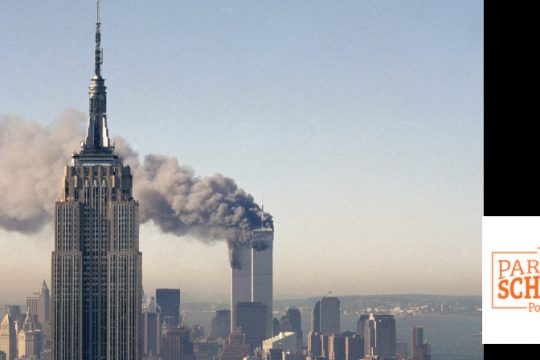 The twin towers of the World Trade Center burn behind the Empire State Building in New York, Sept. 11, 2001. In a horrific sequence of destruction, terrorists crashed two planes into the World Trade Center causing the twin 110-story towers to collapse. (Marty Lederhandler/The Associated Press)