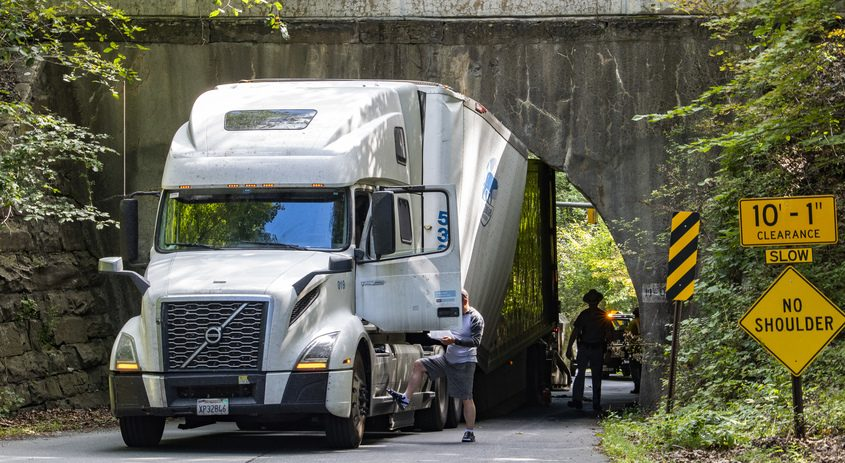 The tractor trailer Tuesday