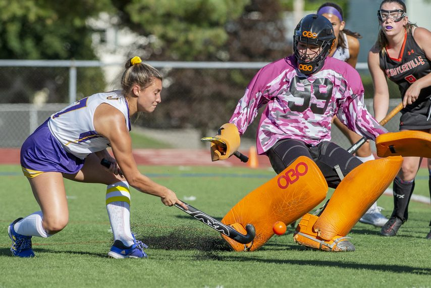 Johnstown's Kalena Eaton takes a shot against Schuylerville goalie Lizzie Goodspeed during their high school field hockey game at Knox Field in Johnstown on Tuesday, September 7, 2021.
