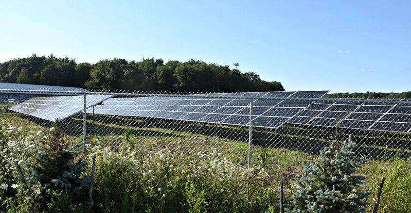 Solar panel arrays stand at 753 Grooms Road in Clifton Park.