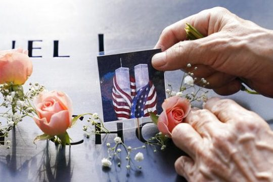 Mourners at the National September 11 Memorial and Museum, Friday, Sept. 11, 2020.