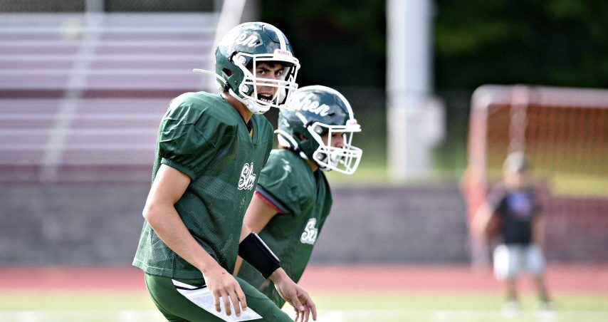 Shenendehowa senior quarterback Mason Courtney calls out signals from the backfield last week during a Week 0 scrimmage at Burnt Hills-Ballston Lake.