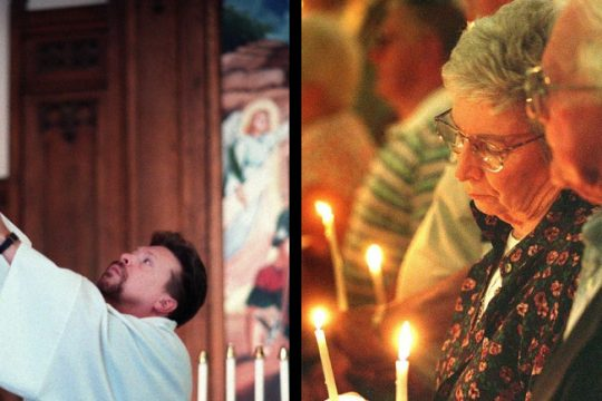 Rev. Shawn L. Dugan of Zion Lutheran Church in Schenectady Sept. 14, 2001, left; Beth Flatt and her husband, Earl, at a prayer service Sept. 14, 2001, right