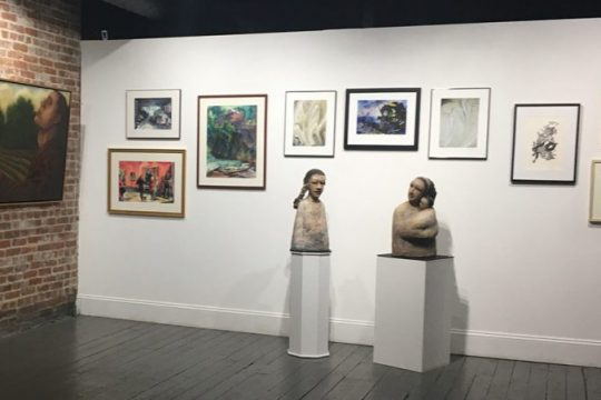 An exhibitionshot of the Oakroom Artists' show at The Artists' Space at The National Bottle Museum in Ballston Spa.