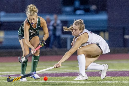 BHBL's Amelia Landry reaches to block against Shenendehowa's Molly Miller during their high school field hockey game at Burnt Hills-Ballston Lake High School on Wednesday, September 8, 2021.
