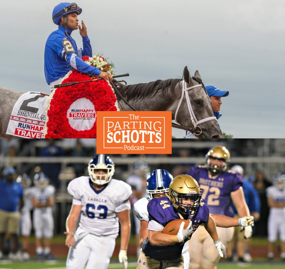 """The end of the Saratoga horse racing season and Week 1 of high school football are the topics on """"The Parting Schotts Podcast."""" (Photos by Erica Miller and Stan Hudy)"""