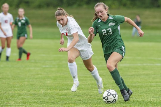 Shenendehowa's Emily Silva with the ball against Niskayuna's MacLaren Richards during their high school soccer game at Shenendehowa in Clifton Park on Thursday, September 9, 2021.