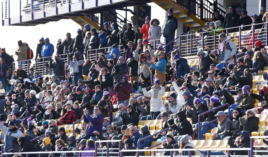 UAlbany football fans cheer during their NCAA FCS playoff game against Central Connecticut at Tom & Mary Casey Stadium in Albany on Nov. 30, 2019.