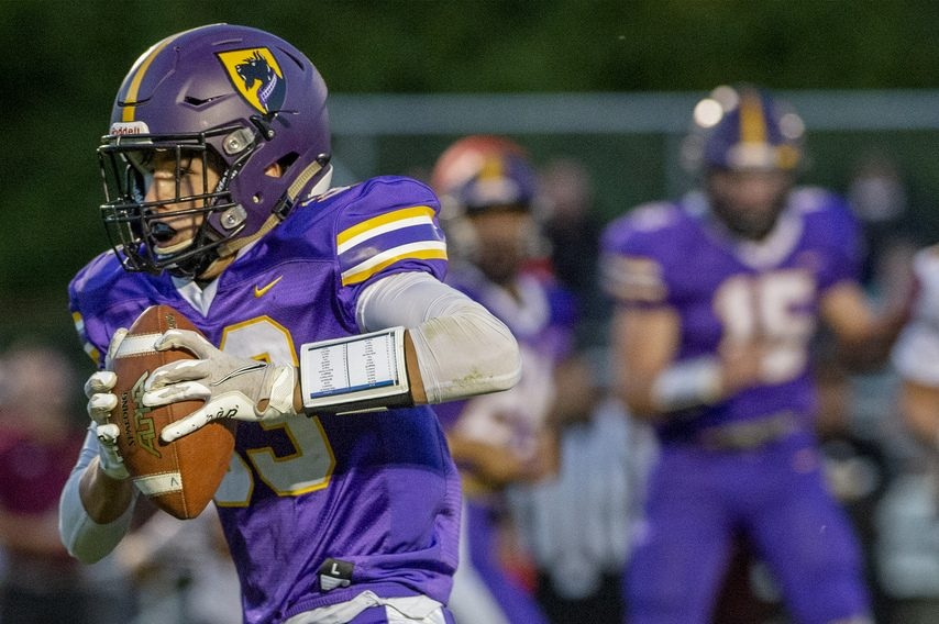 Ballston Spa's Blaine Zollerreturns an interception for a touchdown against Colonie during Friday's football game at Ballston Spa High School.