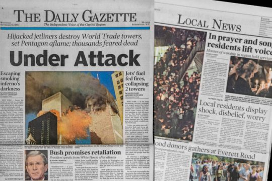 The Gazette's front page and local section from Sept. 12, 2001