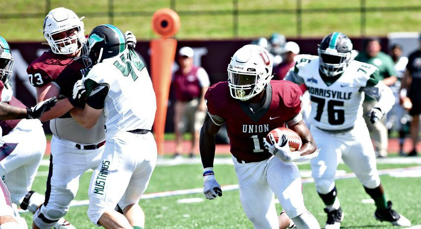 Union running back Ike Irabor, pictured during a Sept. 4 game against Morrisville State at Frank Bailey Field in Schenectady, scored two touchdowns in Union's 62-13 win on Saturday, Sept. 11 against Worcester State.