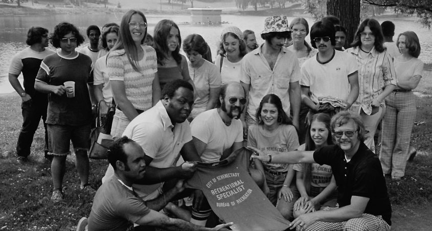 Recreation specialists gather for a group shot taken 46 years ago.