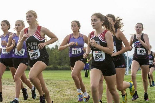 The start of a girls' Foothills Council cross country meet at Broadalbin-Perth High School on Tuesday, September 14, 2021.