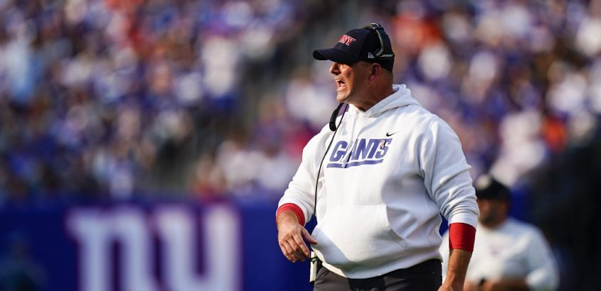New York Giants head coach Joe Judge calls to his players during the first half of last Sunday's game against the Denver Broncos in East Rutherford, N.J. (Matt Rourke/The Associated Press)