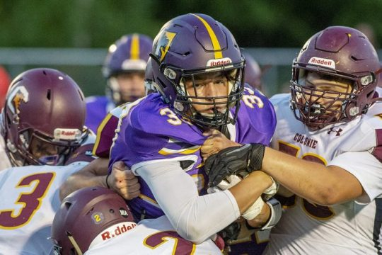 Ballston Spa's Blaine Zoller with the ball against Colonie during their high school football game at Ballston Spa High School in Ballston Spa on Friday, September 10, 2021.