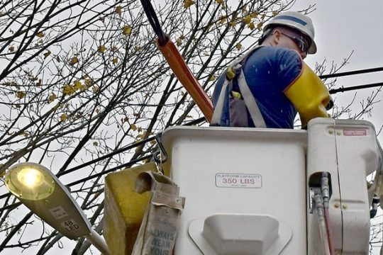 A streetlight is replaced in November 2018 at the start of Phase One of the Smart City program in Schenectady.
