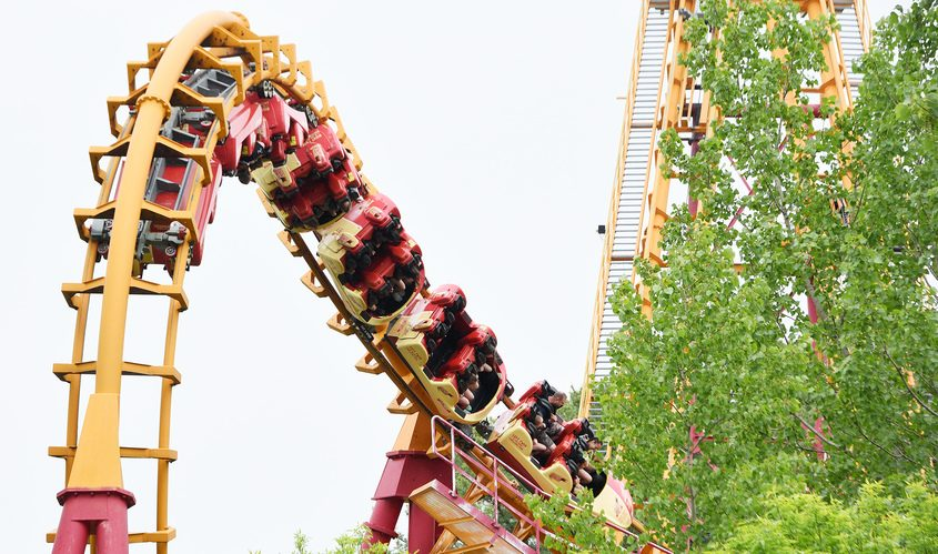 Patrons enjoy rides at the Great Escape in Lake George.