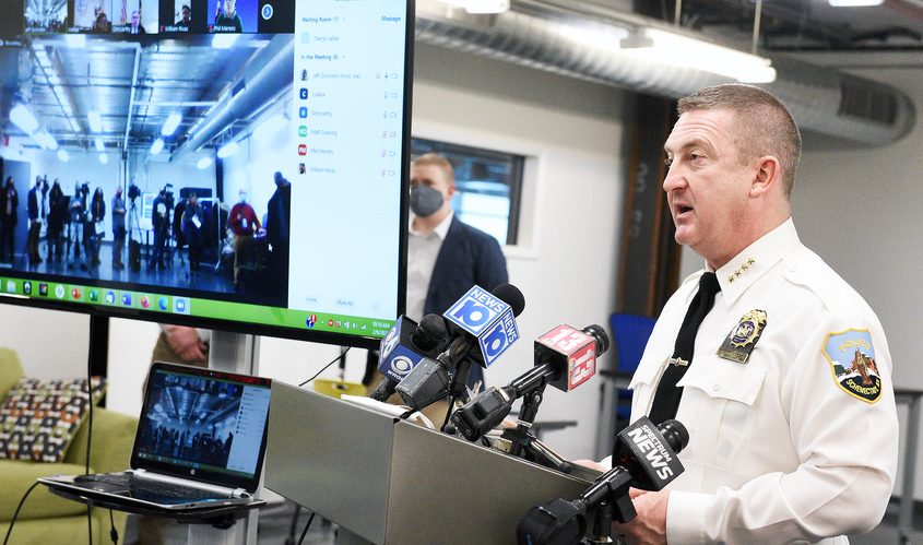 Schenectady Police Department Chief Eric Clifford speaks as Catapult Games announcesits partnership with the Schenectady Police Department to developa virtual reality educational training software to provide tactics aimedat de-escalating situations encountered on the roads, at Urban Co-Works in Schenectady on Feb. 9.
