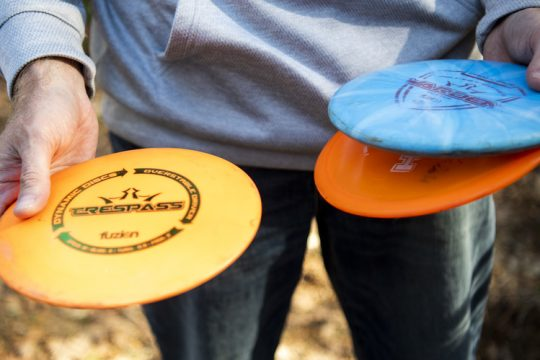 PETER R. BARBER/THE DAILY GAZETTE Mark Hay of Carlisle talks about the finer things of Disc Golf in Charleston Tuesday, March 30, 2021.