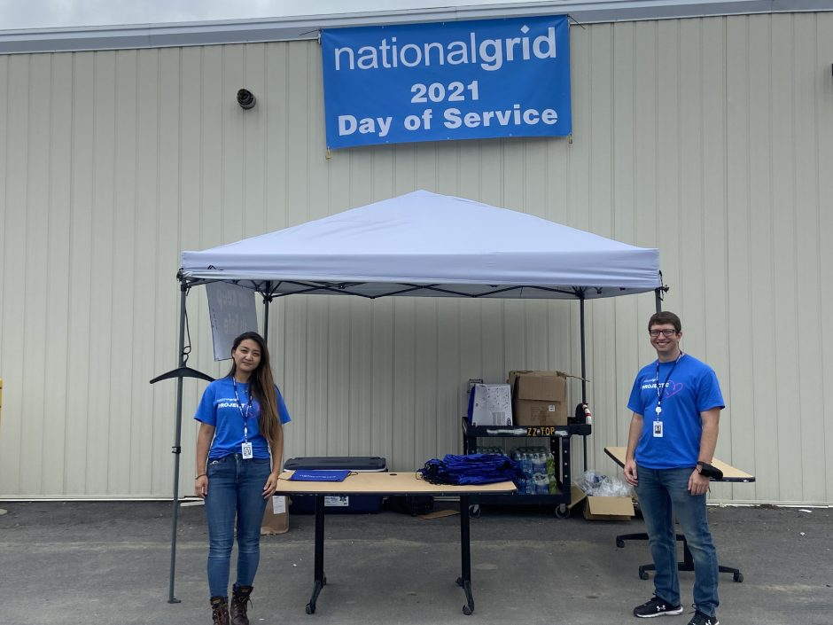 Kenyon and Brian Toy, employees of National Grid, at the Day of Service in downtown Schenectady Friday.