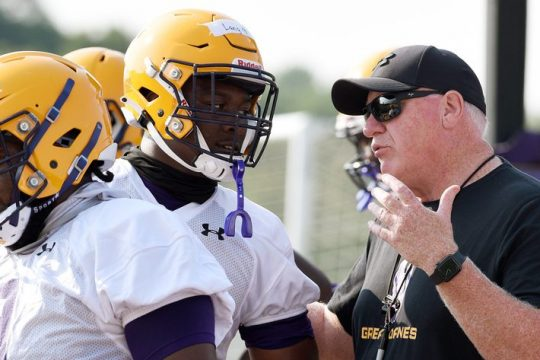 UAlbany football head coach Greg Gattuso during practice at Casey Stadium in Albany on Aug. 6.
