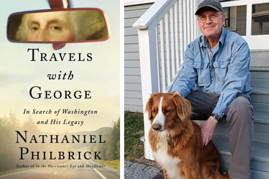 """Author Nathaniel Philbrick with his dog Dora and""""Travels with George."""""""