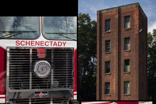 The City of Schenectady Fire Training Tower on Golf Road in Schenectady Saturday.