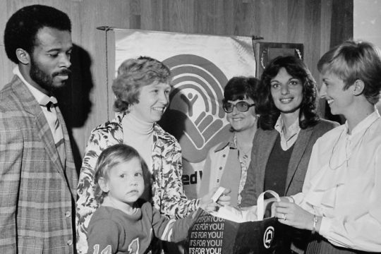 Kathy Selfridge, right, chairwoman of the Schenectady County United Way's door-to-door campaign, chats with members of her team in September 1981. From left are James Lafayette, Diane St. Onge and her daughter Karen, Kelly Quimby and Mary Jane Siedlecki
