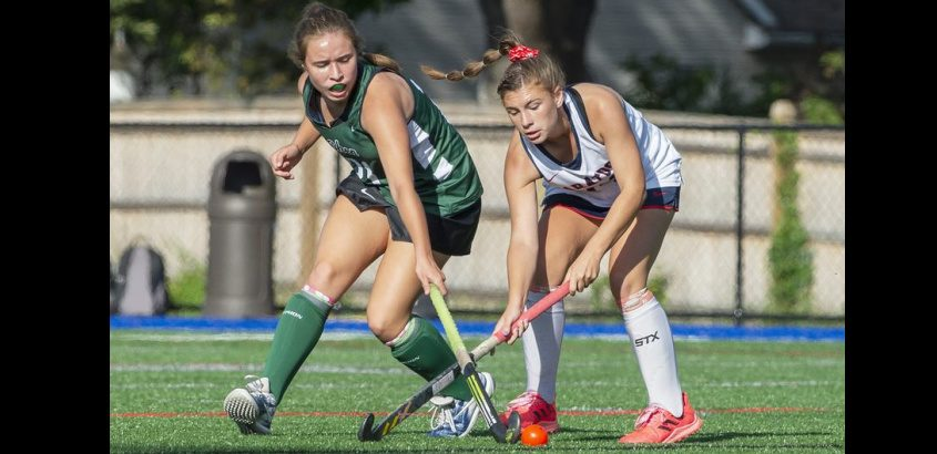 Shenendehowa's Nicolette Morlock against Saratoga's Emma Landers during their high school field hockey game in Saratoga Springs on Monday, September 20, 2021.