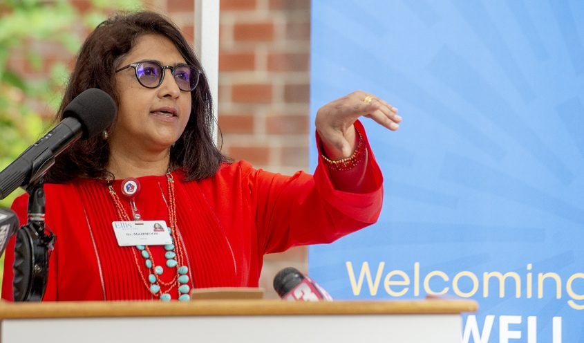 Dr. Tallat Mahmood, medical director of Roswell Park Care Network at Ellis Medicine, speaks during the ribbon cutting of the new oncology unit in Schenectady on Tuesday, Sept. 21, 2021.
