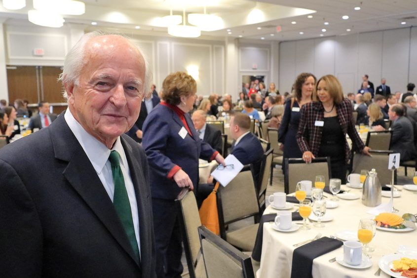 Economist Hugh Johnson is shown before his annual economic forecast for the Capital Region Chamber in Albany on Nov. 30, 2018.