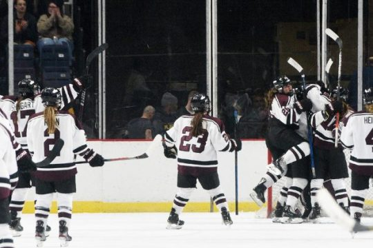 The Union College women's hockey team celebrate its victory over RPI in the Mayor's Cup game Jan. 25, 2020, at Times Union Center.